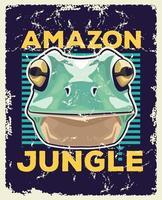 kikker dier wild hoofd en amazone jungle belettering vector