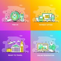 Moderne vloeiende platte lijn concept webbanner van Find us, online reservering, betalingsoptie en klaar om te reizen vector