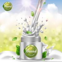 Splash van room cosmetische advertenties in een pot met groene bladeren vector ontwerpsjabloon