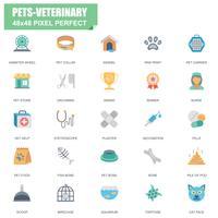 Eenvoudige set van huisdieren en veterinaire gerelateerde Vector plat pictogrammen