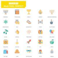Eenvoudige set van Hanukah gerelateerde Vector plat pictogrammen