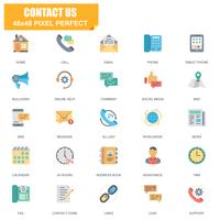 Eenvoudige set van contact met ons gerelateerde Vector plat pictogrammen