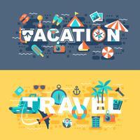 Reis- en vakantie set van platte concept