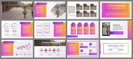 Presentatie PowerPoint-presentatie schuift sjablonen van infographic elementen.