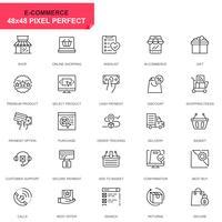 Eenvoudige set e-commerce en winkelen lijn iconen voor website en mobiele apps