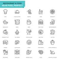Eenvoudige set Restaurant en voedsel lijn pictogrammen voor website en mobiele apps vector