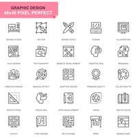 Eenvoudige set Web- en grafisch ontwerp Lijnpictogrammen voor website en mobiele apps
