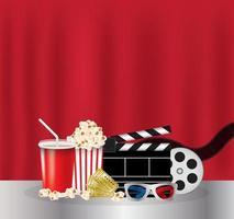 popcorn, drankje, filmfilm, 3d-bril en bioscoopkaartje vector