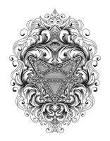 antiek pentagramsymbool met vintage ornament vector
