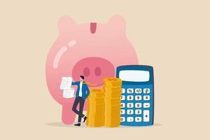 budgetuitgaven en kostenberekening investeringsadviseur of financieel planningsconcept slimme zakenman met rekeningen en budgetplan met spaarpot en rekenmachine vector