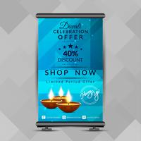 Abstracte stijlvolle Happy Diwali roll-up banner ontwerpsjabloon