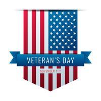 Amerikaanse vlag linten veteranen dag vector