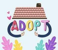 Internationaal adoptiebewustzijnsconcept met huis en hand vector