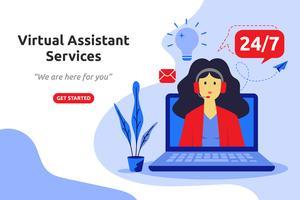 Online virtuele assistent services concept moderne platte ontwerp. ve