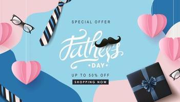 gelukkige vaders dag verkoop banner achtergrond vector
