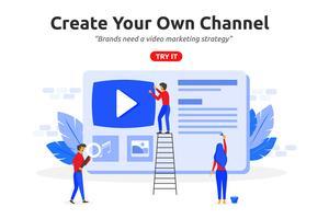 Creëer online video-kanaalsconcept modern plat ontwerp. Video ma vector