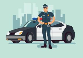 Politieman en politiewagenachtergrond vector
