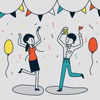 Grappige doodlopende illustratie van een paar feesten