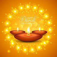 Achtergrond van de de olielamp van vierings de Gelukkige Diwali decoratieve vector