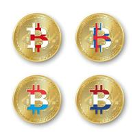 vier gouden bitcoin munten met vlaggen van engeland Faeröer luxemburg a holland vector cryptocurrency pictogrammen geïsoleerd op witte achtergrond blockchain technologie symbool