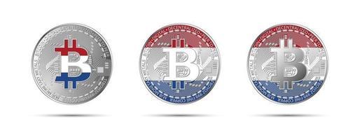 drie bitcoin cryptomunten met de vlag van holland geld van de toekomstige moderne cryptocurrency vectorillustratie vector