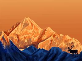 Berglandschap Eerste persoon 7 vector