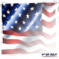 vierde van juli amerika onafhankelijkheidsdag met amerikaanse vlag vector