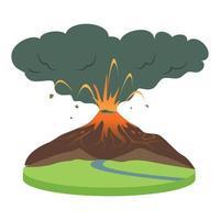 vulkaanuitbarsting in landelijk gebied cartoon vectorillustratie vector