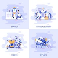 Moderne platte concept webbanner van technische ondersteuning, missie, verkennen en opstarten met ingerichte kleine mensen teken.