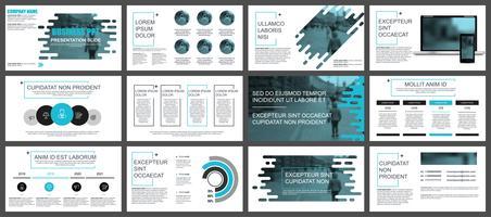 Blauwe en zwarte bedrijfspresentatie schuift sjablonen van infographic elementen. vector