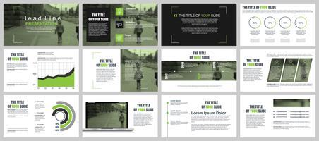 Groene en zwarte bedrijfspresentatie schuift sjablonen van infographic elementen. vector
