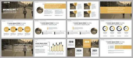 Gouden bedrijfspresentatie schuift sjablonen van infographic elementen. vector