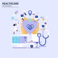Geneeskunde en gezondheidszorg platte ontwerp concept blauwe stijl met ingerichte kleine mensen teken.