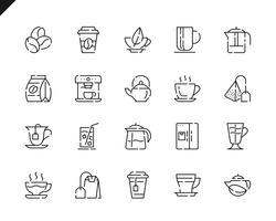 Eenvoudige set Koffie en thee lijn pictogrammen voor website en mobiele apps.