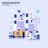 Van het de ontwerpconcept van de machtsindustrie de vlakke blauwe stijl met verfraaid klein mensenkarakter. vector