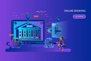 Moderne banner van het het conceptenweb van de gradiënt vlakke lijn van online bankwezen met verfraaid klein mensenkarakter. Bestemmingspaginasjabloon. vector