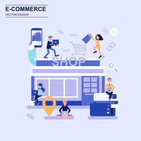 Elektronische handel en het winkelen de vlakke blauwe stijl van het ontwerpconcept met verfraaid klein mensenkarakter.