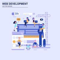 Webontwikkeling platte ontwerpconcept blauwe stijl met ingerichte kleine mensen teken. vector