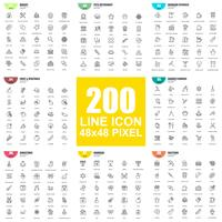 Eenvoudige reeks vector dunne lijnpictogrammen. Lineair pictogrampakket. 48x48 Pixel Perfect.