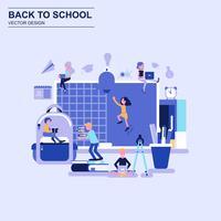 Terug naar school platte ontwerpconcept blauwe stijl met ingerichte kleine mensen teken.