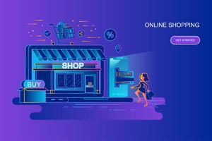 Moderne banner van het het conceptenweb van de gradiënt vlakke lijn van online winkelend met verfraaid klein mensenkarakter. Bestemmingspaginasjabloon.