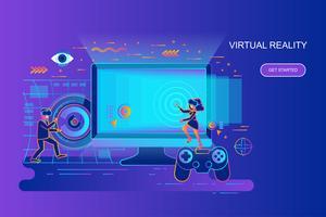 Moderne banner van het het conceptenweb van de gradiënt vlakke lijn van virtuele werkelijkheid met verfraaid klein mensenkarakter. Bestemmingspaginasjabloon.