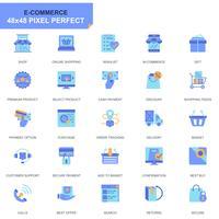 Eenvoudige set E-commerce en winkelen vlakke pictogrammen voor website en mobiele apps vector