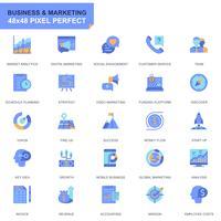 Eenvoudige set Zakelijke en marketing plat pictogrammen voor website en mobiele apps