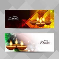 Abstracte Happy Diwali religieuze banners instellen