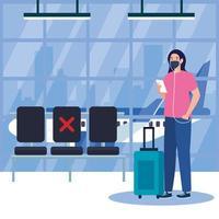 nieuwe normaal van vrouw met masker, ticket en tas op luchthaven vectorontwerp vector