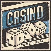 retro vintage illustratie vectorafbeelding van casino dobbelstenen geschikt voor houten poster of bewegwijzering vector