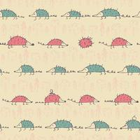 naadloos patroon met grappige egels vector