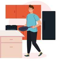 man koken met koekenpan op keukenscène vector