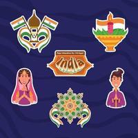 indische onafhankelijkheidsdag stickers vector